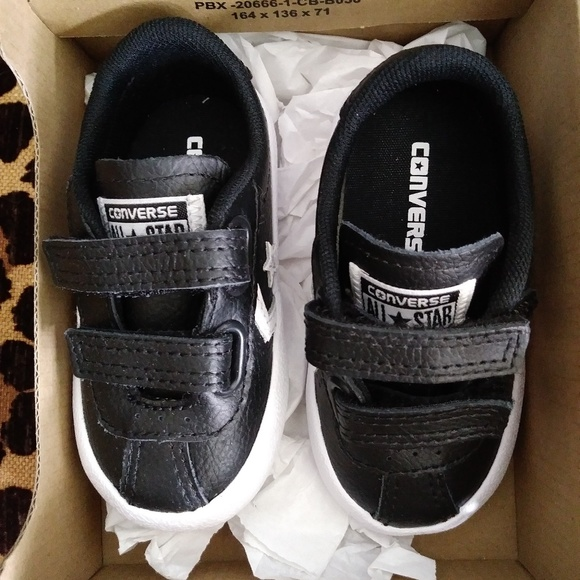 934f05582f2 Black Converse Breakpoint 2V Leather Boys Sneakers